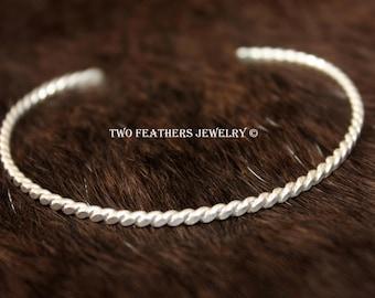 Twisted Sterling Silver Cuff Bracelet - Flat Twisted Wire Cuff -  Skinny Cuff - Minimalist Jewelry - Handmade Twisted Cuff - Silver Jewelry