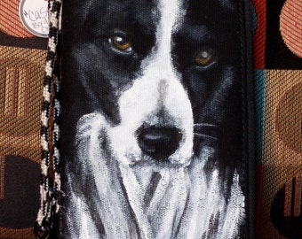 Hand Painted Zip Clutch Wallet 'Casey' a Border Collie
