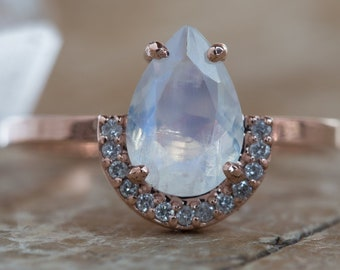 One of a Kind Moonstone Ring with Half Halo