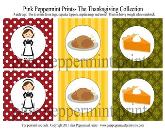 NEW INSTANT DOWNLOAD The Thanksgiving Collection- Party Printables 3 inch Party Tags set 2