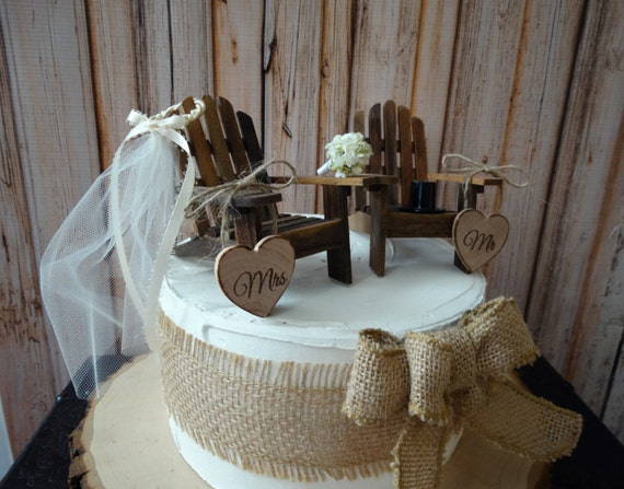 Lake Chairs Barn Wedding Rustic Country Cake Topper Ivory Veil Miniature Wood Adirondack Fall Woodland Bride Groom Fishing