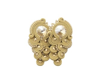 AVAILABLE - Oriental soutache earrings with beads 'rinilo biege soutache'. Handmade exlusive earrings