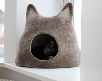 Cat bed - cat cave - cat house - eco-friendly handmade felted wool cat bed - brown with natural light - made to order - unique gift