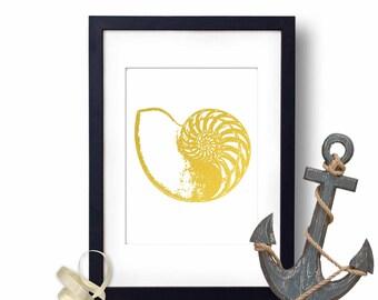 Nautilus Shell Print, Shell Artwork, Nautical Decor, Gold Foil Print, Beach Decor, Lake House Decor, Coastal Wall Art Seashore Sea Shell Art
