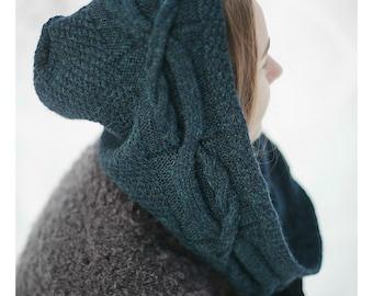 Hoodie | Green Hoodie Scarf | Alpaca Wool Scarf | Woolen Hoodie | Hooded Scarf | Green Hood | Alpaca Hoodie