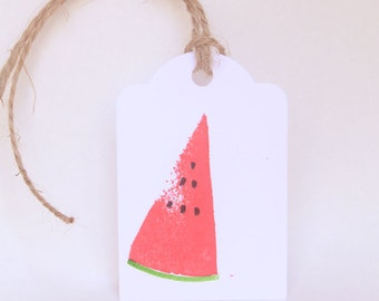 WATERMELON favour tags, gift tags, tutti frutti party, thank you tags, Watermelon favour bag tags X 10