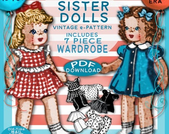 "SISTER DOLLS PDF 9"" 1940s Cloth Doll ePattern Vintage 7 pc Clothing Set  Mid Century Old Mail Order epattern Pdf"