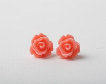 Coral stud earrings, Coral Rose Earrings, Bridesmaid earrings, Coral flower earrings, Bridal party gift, coral wedding, wedding favors, gift