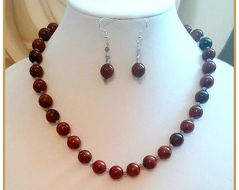 Mahogany Jasper & Labradorite Extendable Necklace Earrings Set - OOAK Protective Root, Throat + 7 Chakra Stone Necklace -Long Brown Necklace