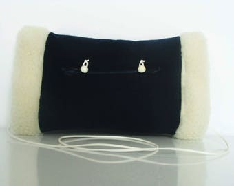 Navy blue & white reversible faux fur muff with interior pocket