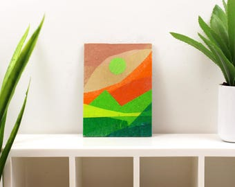 Original Miniature Artwork for the Modern Home - Green Hills and Eye in the Sky