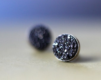 Onyx Druzy and Sterling Stud Earrings- Free Shipping, black earrings, silver post earrings, silver studs