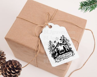 Nativity Christmas Gift Tags Vintage Style Treat Bag Party Favor Tags TC047