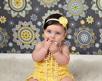 Yellow Headband, Yellow Baby Headband, yellow Flower Headband, yellow Flower Girl Headband,yellow birthday headband,Newborn Headband