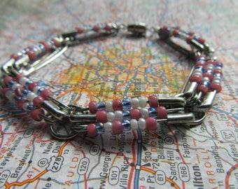 Pink, Blue, and White Bead Bracelet