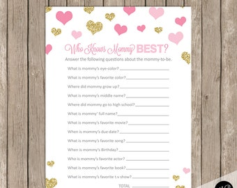 Who Knows Mommy Best Baby Shower Game, Pink And Gold Glitter Hearts Baby  Shower Activity