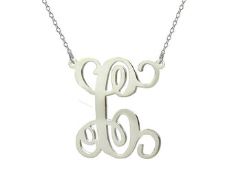 Single initial Necklace - 2 inch pendant select any initial made with 925 Sterling silver