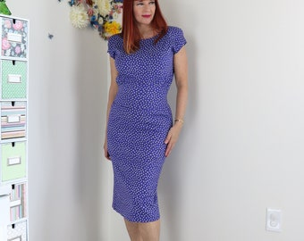 "1980s Does 50s Vintage Polka Dot Wiggle Dress - Sexy Midi Pencil - Cap Short Sleeve - Sm 26"" - 27"" Waist - Party Cocktail Dress - Mad Men"