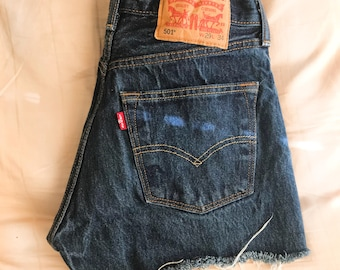 Vintage Levi's 501 High Waisted Distressed Denim Shorts