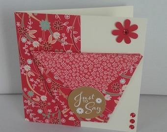 Oriental style handmade greeting card