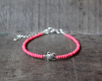 Coral Pink Seed Bead Bracelet with Silver Turtle Charm Minimal Friendship Bracelet