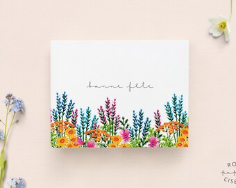 Birthday Card with envelope // Flower Illustration, Blank card, Happy Birthday card, Anniversary,