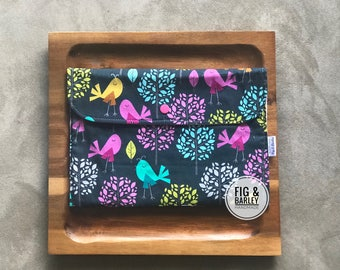 Wipes Pouch  with Change Mat - Birds & Trees - Girls Diaper Wallet - Diaper Bag Organizer - Small Diaper Clutch - Baby Shower Gift - Diaper
