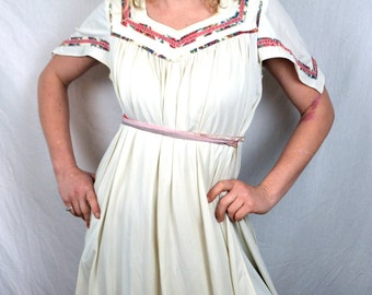 Vintage 1970s Empire Boho Hippie Young Edwardian By Arpeja Floral Dress