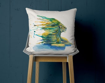 Pillow with lion, watercolor motif, hand sewn, 50 x 50 cm, with customizable back, eye-catcher
