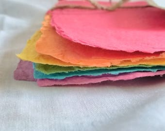 Rainbow Colours Handmade Recycled Paper Sheets