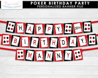 Casino Night Poker Theme Happy Birthday Party Banner | Red & Black | Personalized | Printable DIY Digital File