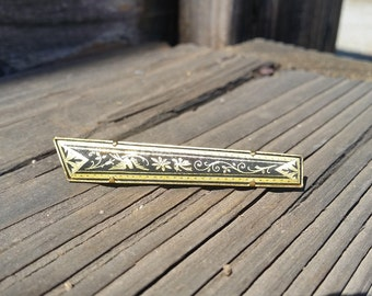Vintage Gold Filled Damascene Brooch Pin Bar