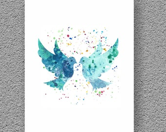 Love Art, Birds Watercolor Art Print, Watercolor Print, Wall Art Print, Watercolor Painting Birds, Home Decor, Watercolor Print