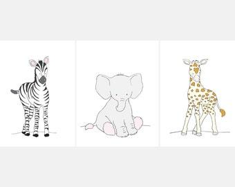 Safari Babies Set  Printable Nursery Wall Art,Safari Set Children,Safari Animal Set Nursery,Safari printable,Zebra Elephant Giraffe Nursery
