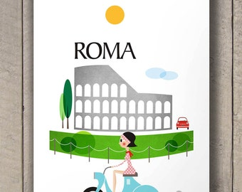 travel art, travel poster, rome print, travel decor, travel print, travel art print, travel gift, travel wall art, city print, city poster