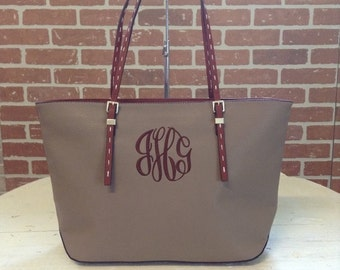 Monogram Purse Bag Tote/ Monogram Taupe Pocketbook, Taupe monogram purse/ Classic Black purse/ Designer Inspired Tote/ Leather purse