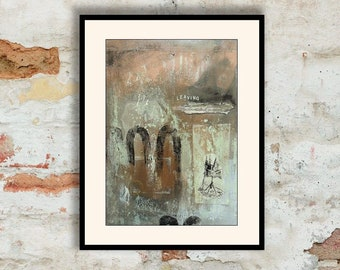 Expressive Abstract Art Rich Earthy Tones Minimal Expressionist Collage Mixed Media Brown Grey Lemon Textured Surface Unusual Leaving Gift