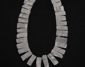 Rough Titanium Silver Geode Agate Beads,Drilled Graduated Rectangle Slice Beads,10-12x20-34mm
