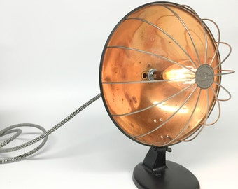 Copper Lamp, Kwik Way Copper Heat Lamp, Industrial Lamp, Man Cave Lamp, Primitive Lamp, Reclaimed Heater, Art Deco Lamp
