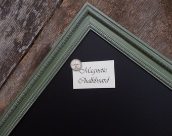 LARGE Magnetic Chalkboard 35 x 23 in. Distressed Moss Green Vintage Style Frame - Large Magnetic Board - Green Chalkboard