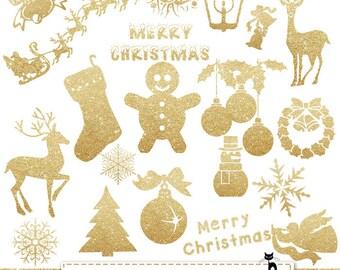 """Christmas clip art: """"Glitter Ornaments"""" glitter clip art, christmas clipart ornaments, gold glitter clip art, gold christmas clip art"""