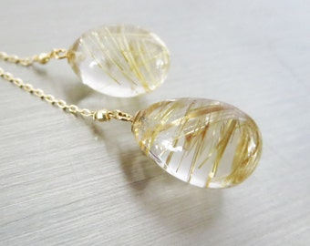 14K-Golden Rutilated Quartz-Venus Hair-14k Solid Gold Lariat Style Necklace