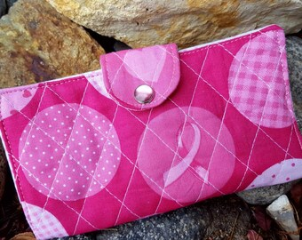 Pink Checkbook Cover, Fabric Checkbook Cover, Personalized  Breast Cancer Awareness Checkbook Cover, Pink Quilted Coupon Wallet