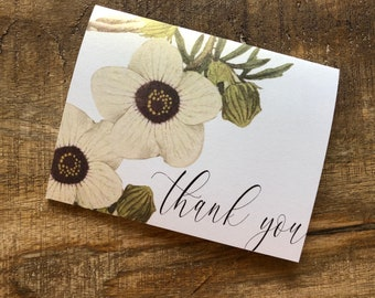 Metallic Vintage Floral Cursive Thank You Card