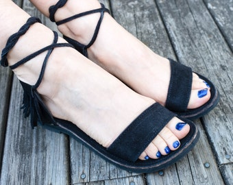 Black suede nomad wrap sandals