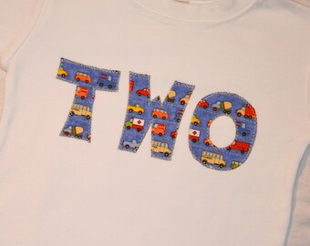 Boys 2nd Birthday Shirt, Boys TWO shirt, Cars Birthday - Size 2 short sleeve - cars trucks, blue red yellow orange, transportation birthday