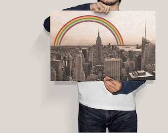 Vintage-style New York city with rainbow, featuring joy, pride and happiness. DIGITAL DOWNLOAD