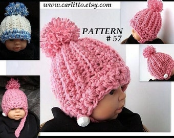 CROCHET PATTERN, number 57, Hat, ribbed pom pom, AT, boys or girls teens toddlers adults childrens Instant Download