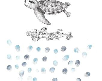 Turtle fingerprint etsy sea turtle in ocean waves fingerprint guest book nursery art baby shower publicscrutiny Image collections