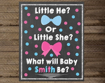 Gender reveal sign, Gender reveal party, little he or little she, bow ties or bows, blue or pink, gender reveal sign, baby announcement